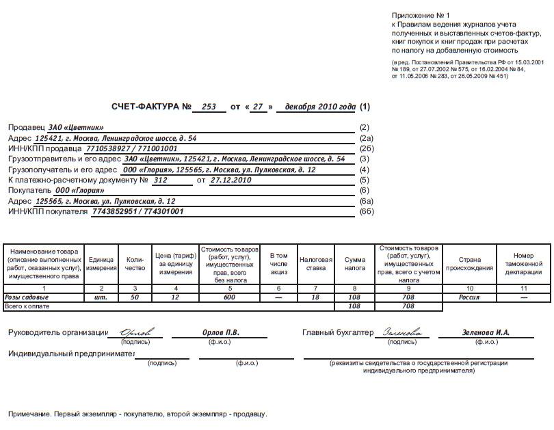 Пример заполнения Счет-фактуры 2015