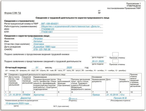 """Построчный образец заполнения СЗВ-ТД от журнала """"Упрощенка"""""""