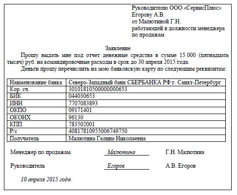 Заявка на банковскую карту
