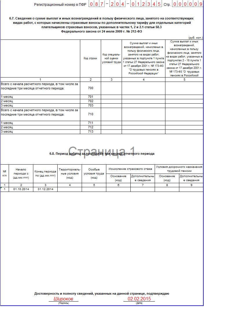 индивидуальные сведения пфр в 2014 бланк
