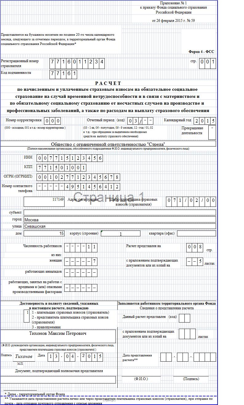 Пример заполнения 4 фсс 2015