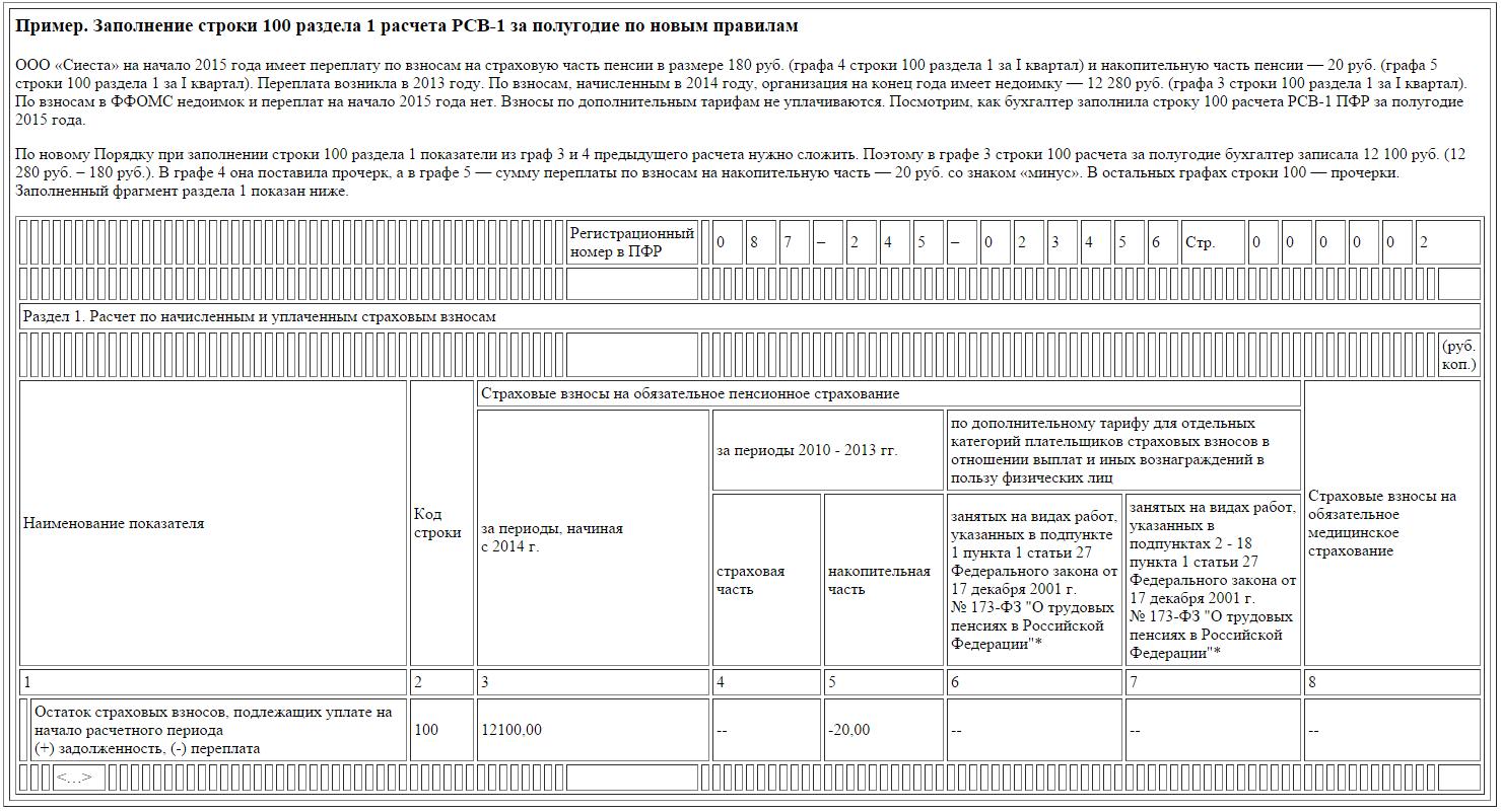 бланк расчет страховых взносов в пфр и ффомс рсв-1