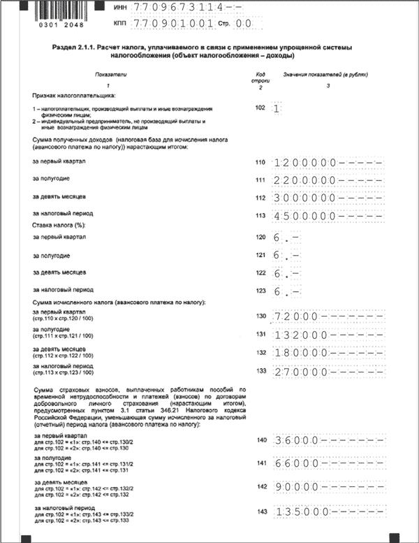Раздел 2-1-1 Декларации по УСН