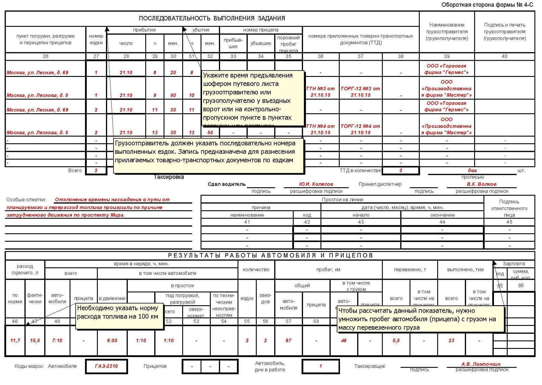 Путевой лист грузового автомобиля. Форма 4-С | Респект: Учет путевых листов и ГСМ