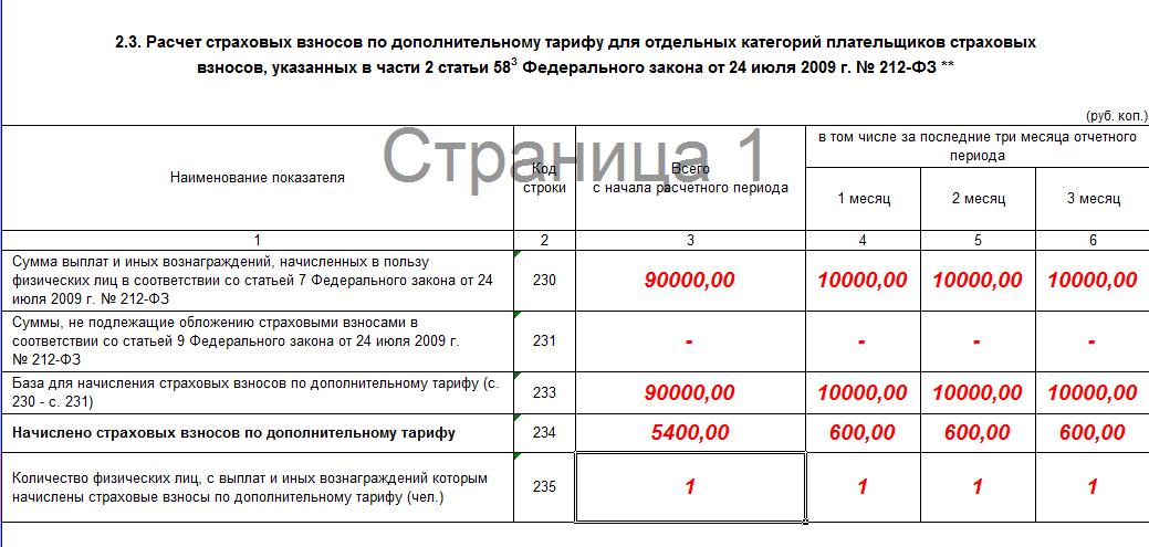 Расчет страховых взносов для ип с работниками образец заполнения