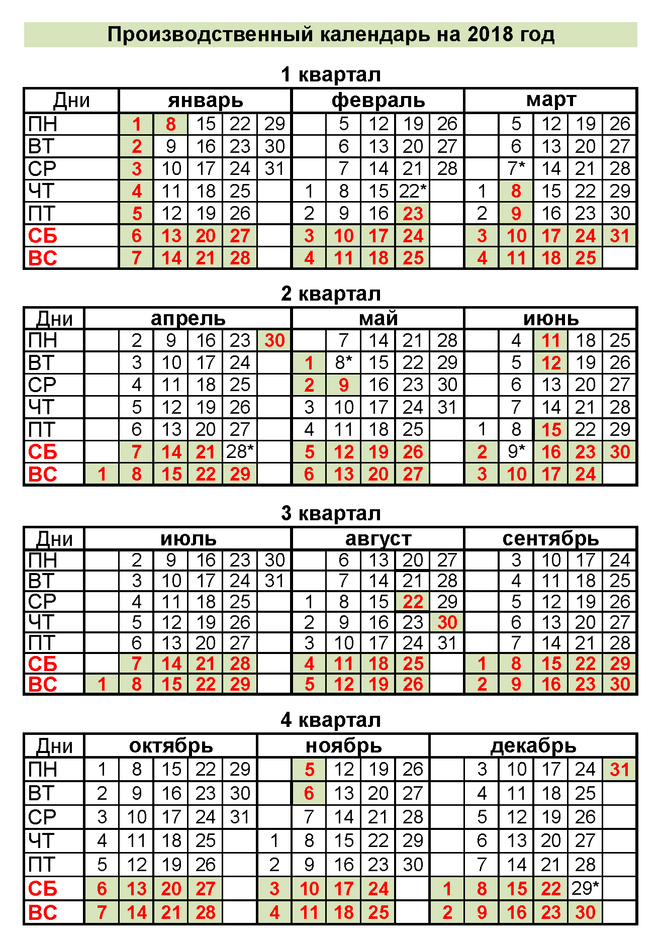 Праздники 2018 нерабочие дни календарь