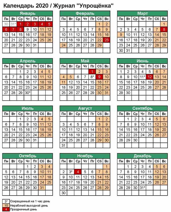 Производственный календарь 2020 картинкой