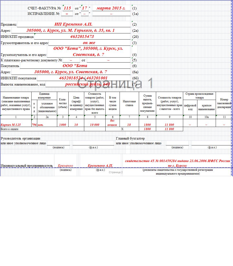 свидетельство о государственной регистрации в качестве индивидуального предпринимателя образец