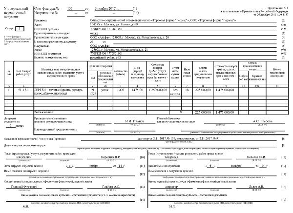 Универсальный передаточный документ (УПД): бланк, образец