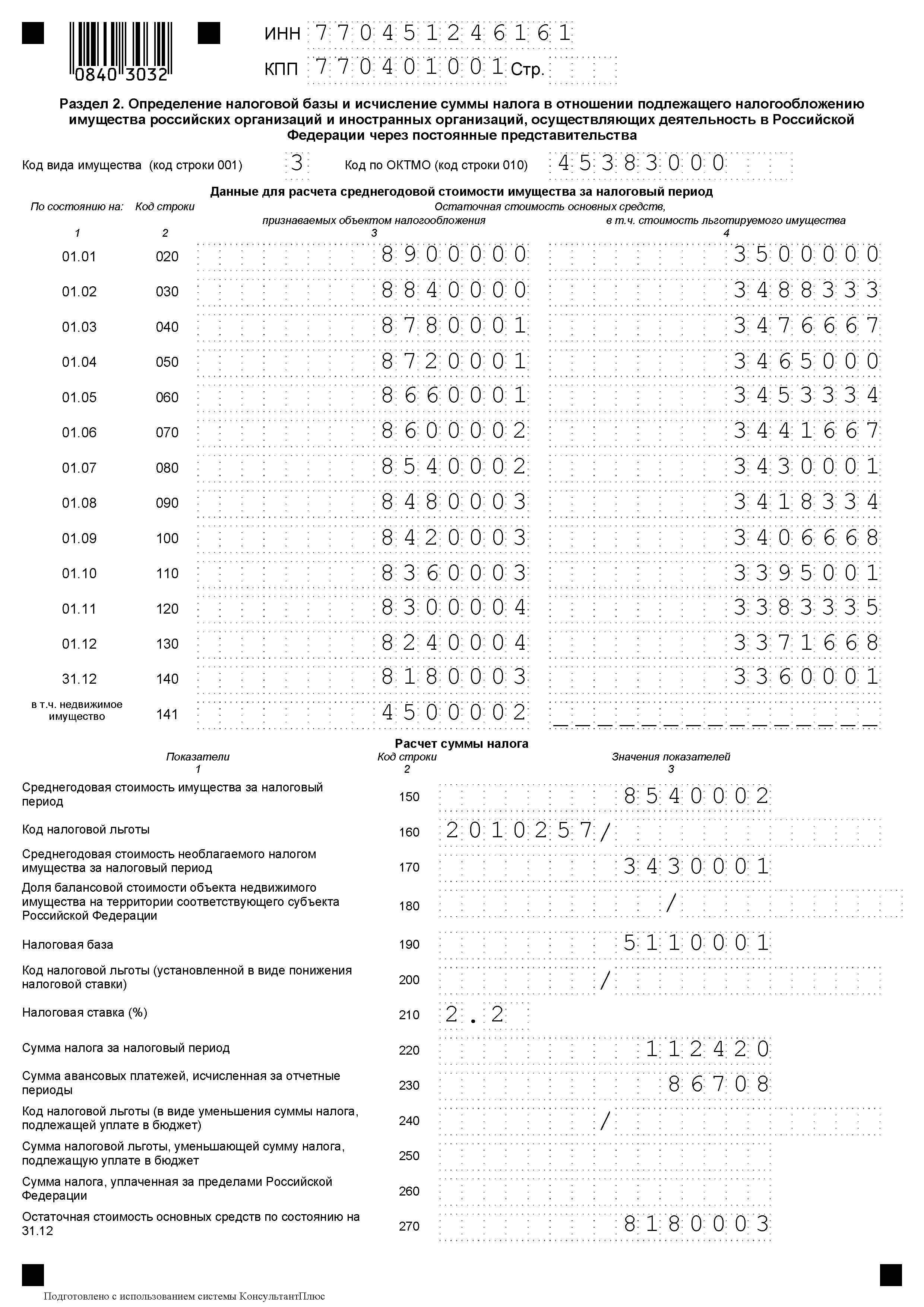 декларация налог на имущество за год