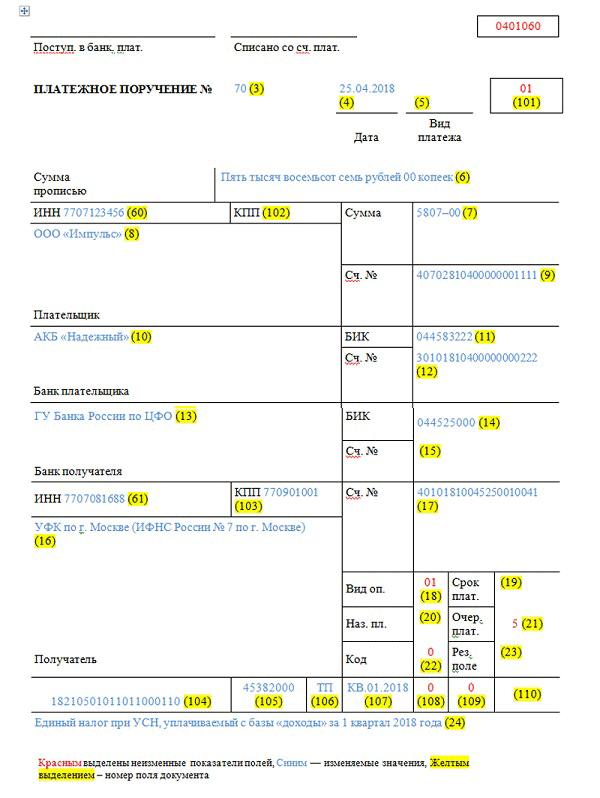 Образец платежки в 2018 году с новыми реквизитами