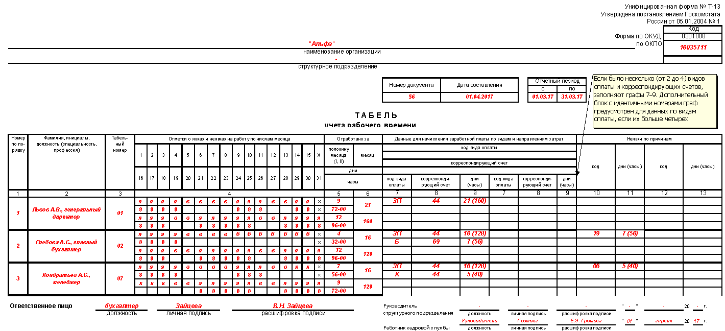 Табель учета рабочего времени на 2017 год