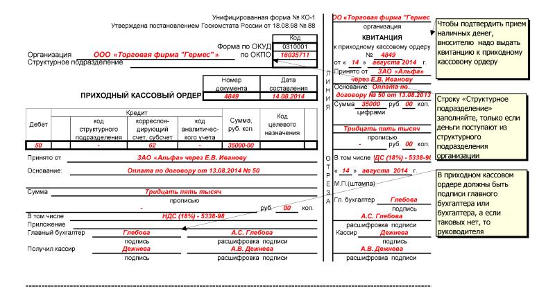 Пример заполнения приходного кассового ордера