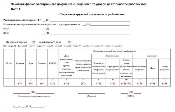 Ежемесячный отчет СЗВ-ТД в 2020 году: бланк и образец