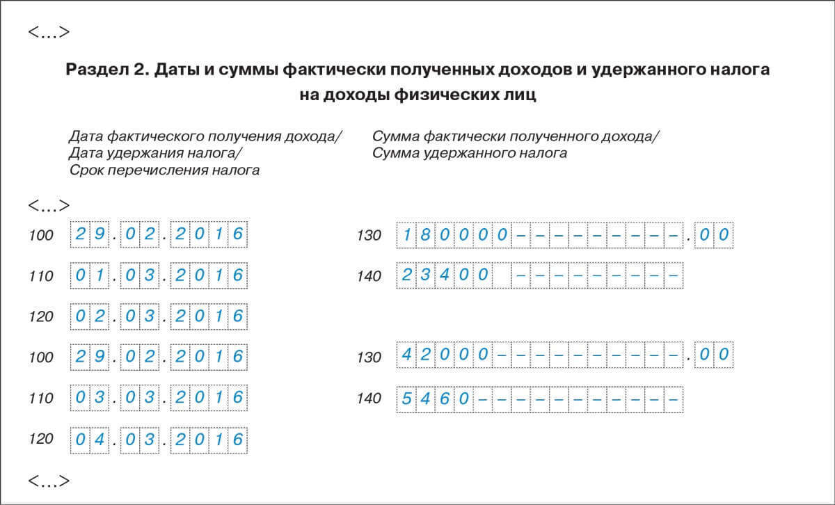 Пример заполнения раздела 2 формы 6-НДФЛ за 1 квартал