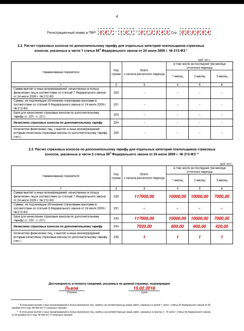 рсв-1 2016 нулевая отчетность какие странички сдавать