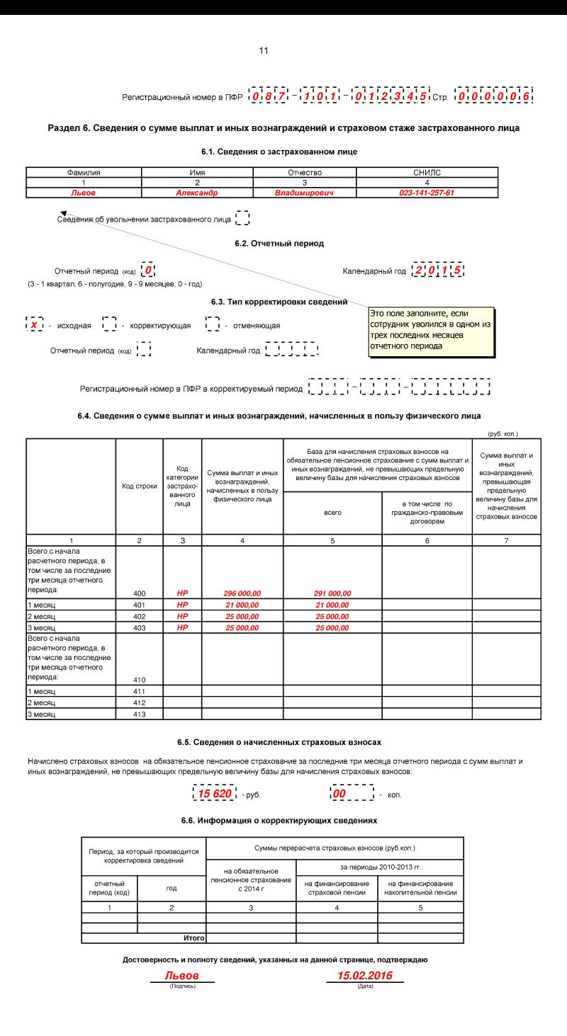 Форма РСВ-1 в 2016 году. Образец, бланк